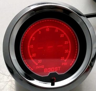 热销 新款7彩炫酷12V汽车改装仪表增压表52MM 液晶屏 铝合金