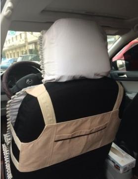 汽车坐垫辅料配件马甲背心坎肩 米黄色麂皮绒正副驾驶一对装