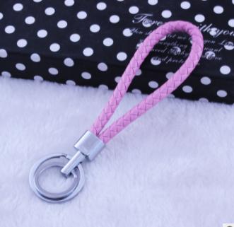女包挂件 双圈手工编织皮绳钥匙扣金属钥匙链创意小礼品配饰批发