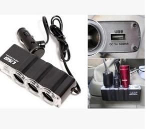 0120带开关一拖三点烟器 汽车双USB一分三充电器 车载电源转换器