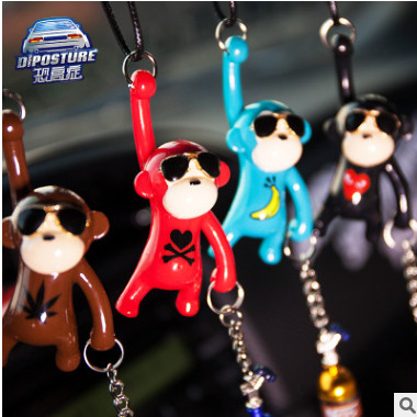 嘻哈潮牌猴子猿人后视镜挂件 NOS瓶车载眼镜猴高端车挂 卡通挂饰