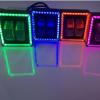 新款扁光透镜摩托车电动踏板车改装内置LED大灯带彩灯12-80V通用