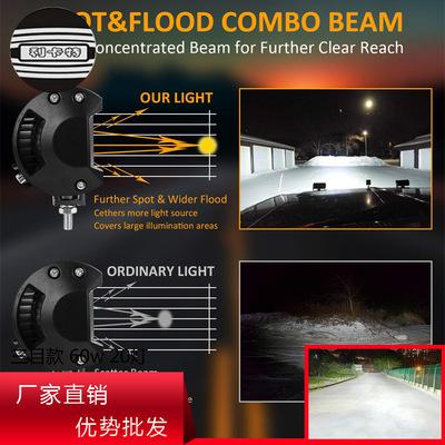 汽车led工作灯三目款60w20灯摩托车照明检修越野射灯