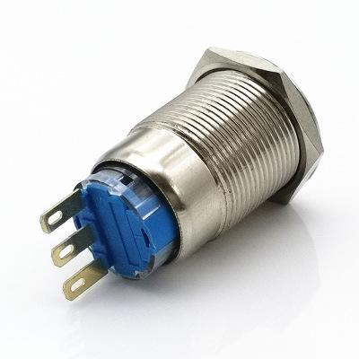19MM金属按钮开关平头自锁自复位三脚 无灯防水防锈汽车改装开关