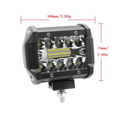 汽车4英寸工作长条灯三排高亮LED顶灯摩托车改装射灯工作灯60w