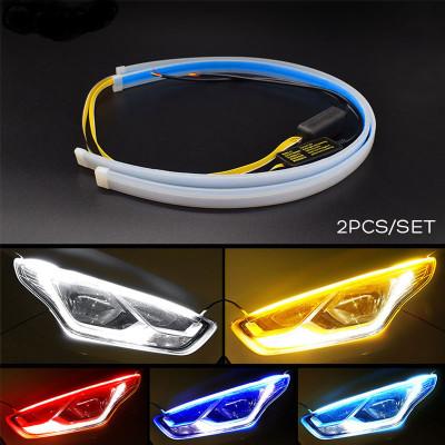 跨境爆款汽车LED日行灯改装超薄流水转向灯45CM 60CM流光转向灯条