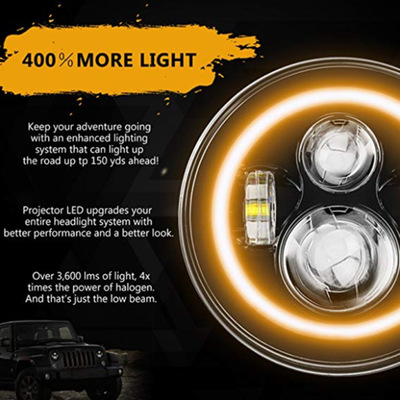 新款组合7寸JEEP牧马人大灯 吉普改装汽车LED大灯 牧马人大灯组合