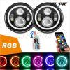 亚马逊爆款 7寸牧马人LED大灯 RGB天使眼大灯流水RGB光圈手机控制