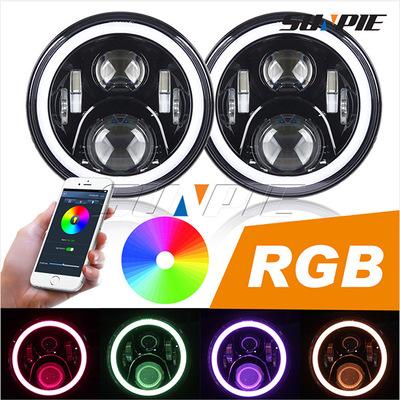 牧马人龙版RGB大灯/苹果安卓APP蓝牙控制大灯/7寸RGB前大灯