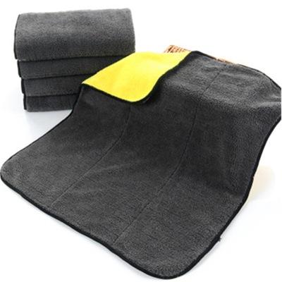 直批高密擦车巾珊瑚绒加厚超吸水双色双面超细纤维洗车毛巾40*40